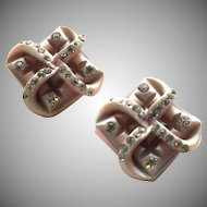 Vintage Pink & Grey Celluloid and Rhinestone Earrings