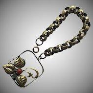 Vintage Bracelet with Hammered Link and Medallion Charm