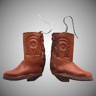 Vintage Western Cowboy Cowgirl Boot Pierced Earrings
