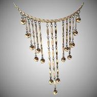 Vintage Napier Goldtone Fringe, Dangling Balls Necklace
