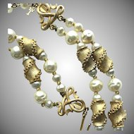 Trifari Vintage Faux Pearl and Textured Goldtone Necklace