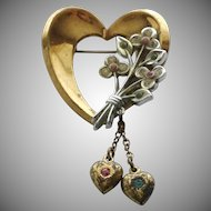 Vintage Coro Heart Pin Brooch with Dangling Hearts
