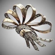 Vintage Boucher Sterling Vermeil and Rhinestone brooch pin, with Phrygian Mark