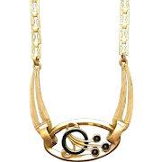 Vintage Art Deco Brass and Black Enamel Bubbles Necklace
