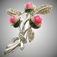 Vintage Marboux Pink Flower Pin Brooch with Sparkly Rhinestones