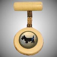 Vintage Scottie Westie Dog Bubble Glass Dangle Pin Brooch