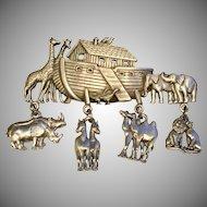 Vintage JJ Noah's Ark Pin Brooch with Dangling Animals