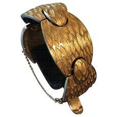 """Boucher Vintage Textured """"Netting"""" Goldtone Wide Bracelet"""