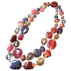 Vintage Art Beads Pink Necklace Strung on Gold Links