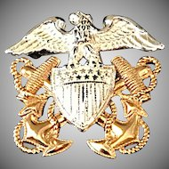 Vintage Sterling and Gold-Filled U.S. Navy Officer's Insignia Pin Brooch