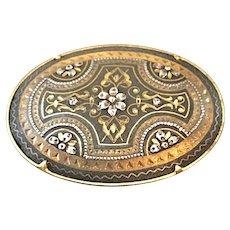 Vintage True Damascene Cross Pin Brooch with Trombone Clasp