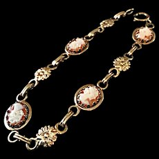 Vintage Sterling Vermeil Cameo Bracelet for Large Wrist- 8 Inches, with Pierced Earrings