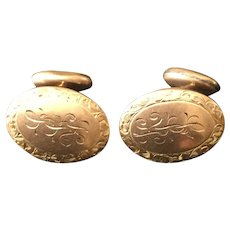 10k Gold Victorian Cufflinks with Extensive Engraving