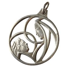 Vintage Madonna and Child Italy Stylized Silvertone Pendant or Large Charm