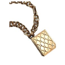 Vintage Bracelet with Quilted Book Trifari Locket Charm with Rhinestones