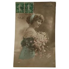 Vintage Hand-Colored French Postcard, RPPC, DB, Pretty Lady in Blue