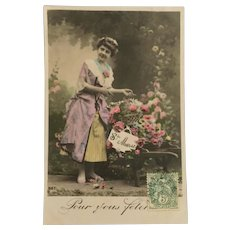 Vintage Hand-Colored French Postcard, RPPC, DB, Pretty Lady with Flowers