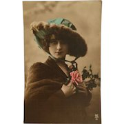 Vintage French Hand-Colored Postcard, RPPC DB, Glamour Lady in Blue Hat
