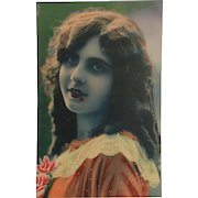 Vintage French Hand-Colored Postcard, RPPC, DB, Glamour Woman