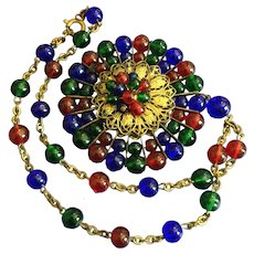 Vintage Red, Green, Blue Glass Bubble Necklace with Large Pendant