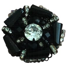 Vintage Miriam Haskell Black, Rhinestone, and Seed Bead Finger Ring