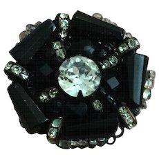 Vintage Miriam Haskell Black, Rhinestone, and Seed Bead Finger Ring