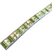 Vintage Art Deco Allco Emerald and Clear Rhinestone Line Bracelet