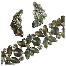 Vintage Juliana D & E Olive Green Satin Glass Stone Bracelet and Earrings Set