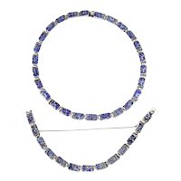 Margot de Taxco Mexican Sterling Silver and Blue Confetti Enamel Necklace and Bracelet –ca. 1955