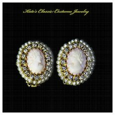 Hobe Cameo & Rhinestone Earrings – 1950s
