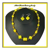 Signed Czech Art Glass Necklace & Earrings-Art Deco-Yellow/Amber