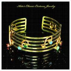 Cuff Bracelet – Musical Notes – 12 Karat Gold Filled Wire Work – 30s – Signed