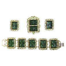 TARA signed Delizza & Elster style full Parure – faux Emerald Panel Stones