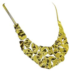 Graziano Signed Gold Tone Bib Necklace – Runway Worthy