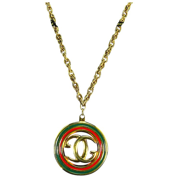 G gucci signed italy enamel pendantnecklace interlocking double g gucci signed italy enamel pendantnecklace interlocking double g logo aloadofball