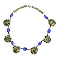 Vintage Art Deco Open Backed Faceted Blue Crystal & Repoussé Rose Necklace