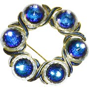 Vendome Heliotrope/Sapphire Blue Swarovski Crystal Pin – Multifaceted Sparkles – 1960s