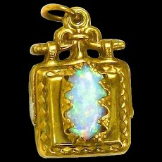 Victorian Fob Pendant –Rolled Gold – Pearl and Opal – Two-Sided