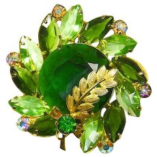 Delizza and Elster Juliana Large Green Rhinestone Pin – Book Piece