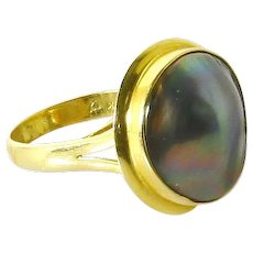 Vintage Black Pearl 14 Karat Gold Ring-16mm