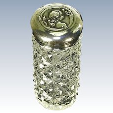 Rare Art Nouveau Sterling Silver Kate Harris Design Dresser Jar – Young Girl – William Hutton – 1904
