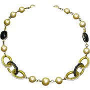 Miriam Haskell faux Pearl and Onyx Necklace – Seed Beads – 1970s