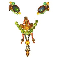 Vintage Juliana Delizza and Elster Fall Colors Crown Brooch and Earrings – Demi Parure