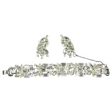 Delizza and Elster Juliana Fabulous Clear Rhinestone Bracelet and Earrings – Five Link