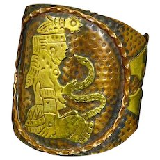 Cobre Cuff Bracelet Copper and Brass – Aztec Goddess with Snake – 1960s – Mexico