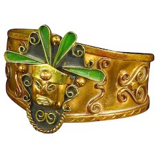Mexico Warrior Cuff Bracelet – Copper, Brass, and Enamel – Aztec/Mayan – Mixed Metal