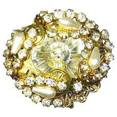 Hattie Carnegie signed Rivoli faux Pearl Rhinestone Pin – Filigree – 1948 – 1955
