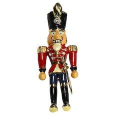 Nutcracker Christmas Soldier Pin – Enamel and Rhinestones – signed MT