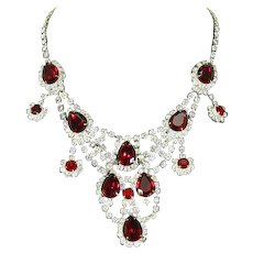 Fabulous Rhinestone Bib Necklace – Large Red Teardrops – Runway