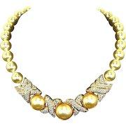 Swarovski SAL XOXO Necklace – faux Pearl and Pave Rhinestones